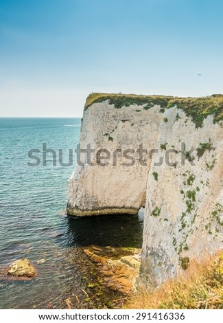 Beautiful chalk formation Old Harry Rocks in Dorset near Swanage (South England, United Kingdom) - stock photo