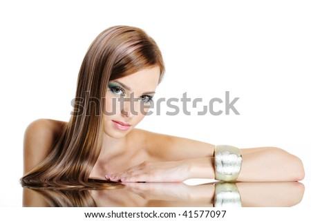 Beautiful charming pretty woman with straight long hair and charming look - stock photo