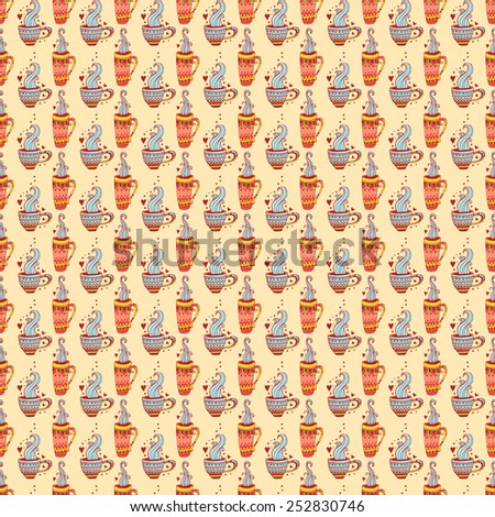 Beautiful, cheerful pattern with hand-drawn cups. Cup of hot tea and coffee. Bright and saturated pattern on a white background. Suitable for tissue, packaging, cafes, clothing, paper. - stock photo