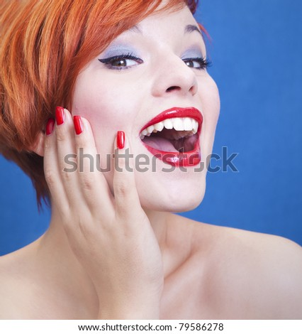 Beautiful cheerful woman - stock photo