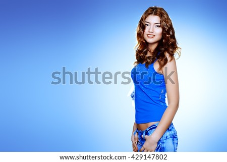 Beautiful cheerful woman smiling at the camera.  - stock photo