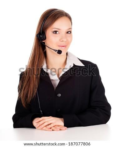Beautiful cheerful woman with headphones, white background - stock photo