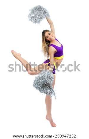 Beautiful cheerleader woman dancer girls from cheerleading team smiling isolated on a white background