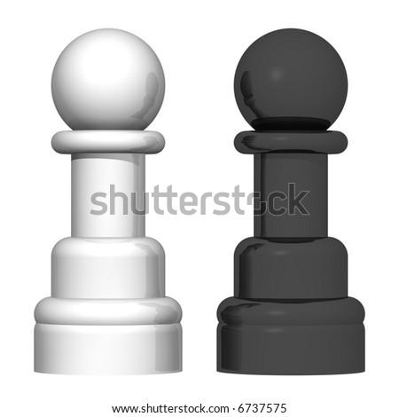 Beautiful chess pawns isolated on white - stock photo