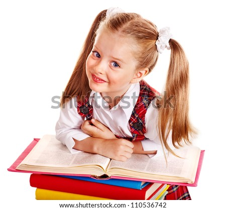Beautiful child with stack book. Isolated.