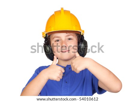 Beautiful child with yellow helmet saying OK isolated on a over white background - stock photo