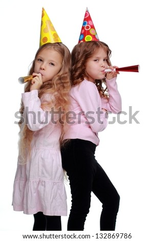 Beautiful  children with long healthy hair on white background on Holiday