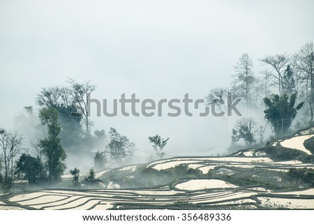 Beautiful China Yunnan Yuanyang terraces  - stock photo