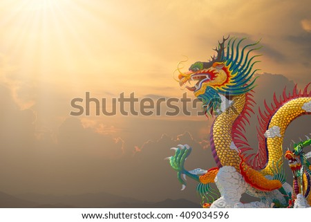 beautiful chinese dragon at sunset time thailand - stock photo