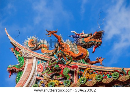 Beautiful Chinese dragon sculpture on the roof at Lungshan Temple of Manka, in Wanhua District, Taipei, Taiwan, built in Taipei in 1738 by settlers from Fujian during Qing rule in honor of Guanyin.