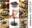Beautiful chocolate collage made from nine photos - stock photo