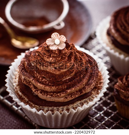 Beautiful chocolate cupcakes with butter cream, cocoa and little - stock photo