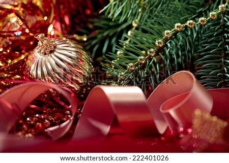 beautiful Christmas background with branch of Christmas tree close-up  - stock photo