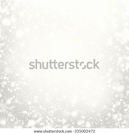 Beautiful Christmas background with silver lights, stars and snowflakes. Abstract Festive lights white and grey color.  - stock photo