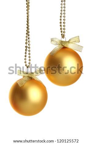 beautiful christmas balls, isolated on white - stock photo