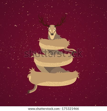 Beautiful Christmas card design with stylised reindeer Christmas tree with a cute deer on wintry snow on the red background - stock photo
