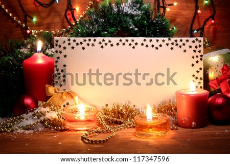beautiful Christmas composition on wooden background - stock photo