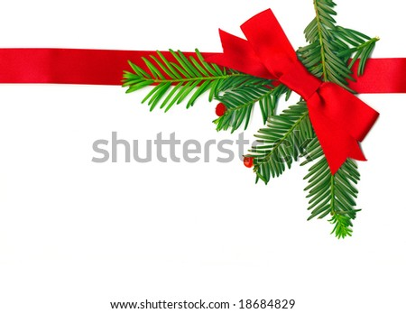 Beautiful Christmas Decoration with a ribbon isolated on white - stock photo