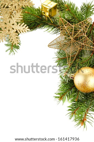 Beautiful Christmas decorations on fir tree isolated on white - stock photo