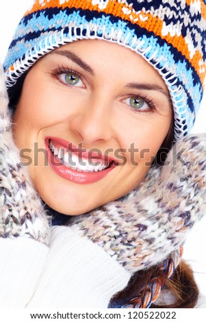 Beautiful christmas girl portrait isolated on white background. - stock photo