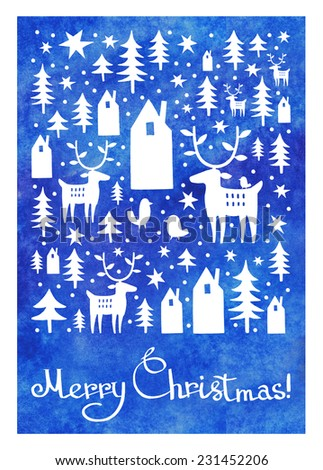 Beautiful Christmas greeting card with white houses and trees and deer silhouettes on blue watercolor background. Watercolor Christmas card design. Merry Christmas lettering, typography composition.  - stock photo