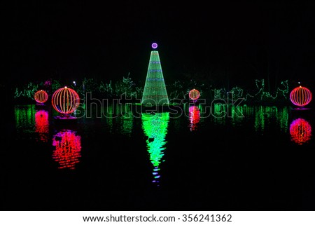 Beautiful Christmas Light Decorations at Festival of Lights in Cincinnati - stock photo