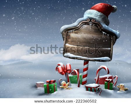 Beautiful Christmas sign outdoors day scene - stock photo