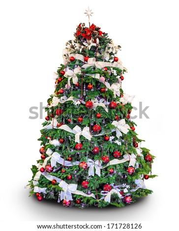 Beautiful christmas tree isolated on white background - studio shot - stock photo