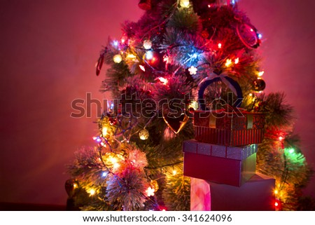 beautiful christmas tree with Multi Colored Lights  on dark background