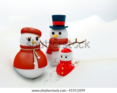 Beautiful Christmastime snow family together over white - stock photo