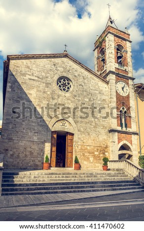 Beautiful church in San Quirico Dorcia tuscan town