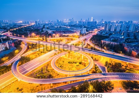 beautiful city interchange road in tianjin at night, China - stock photo