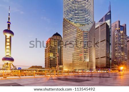 beautiful city of Shanghai bund night - stock photo