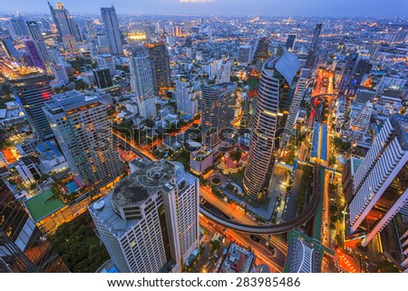 Beautiful cityscape, center of Bangkok, Thailand - stock photo