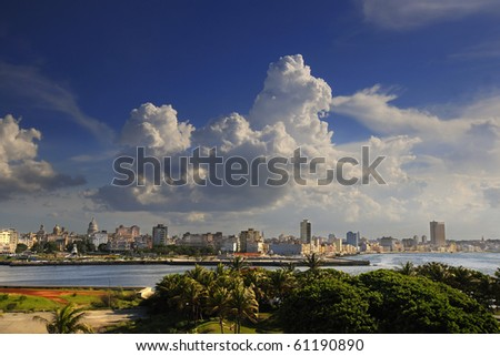 Beautiful cityscape of Havana bay entrance and skyline. Taken from El Morro Fortress