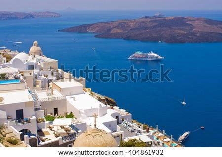 Beautiful cityscape of Thira in Santorini island, Greece - stock photo