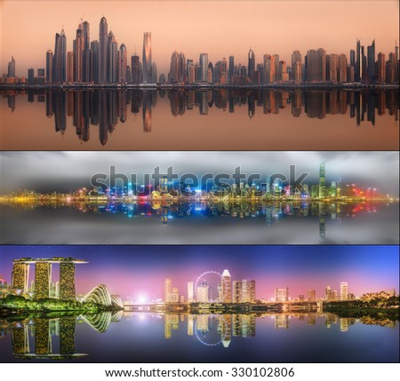 Beautiful cityscape set and collage of Dubai. Singapore, Hong Kong