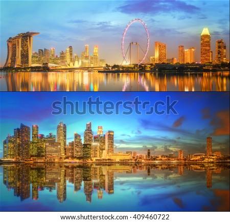 Beautiful cityscape set and collage of Marina Bay, Singapore  - stock photo