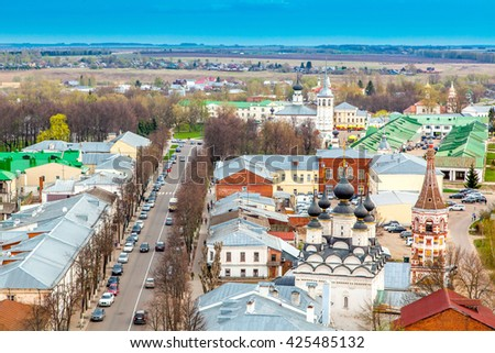 Beautiful cityscape. View of the old Russian town of Suzdal. Gold ring. Travel to Russia