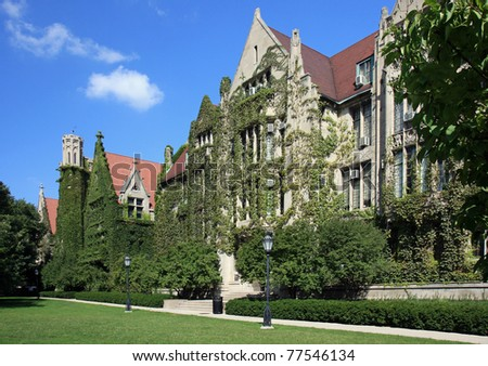 Beautiful classic ivy clad halls on a university campus - stock photo