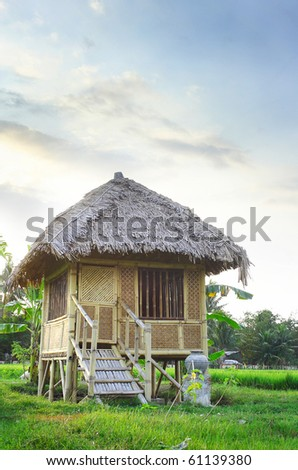 beautiful classic wooden house in the middle of the rice field