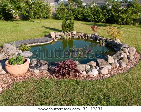 Beautiful classical garden fish pond surrounded by grass - stock photo