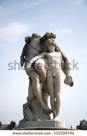 Beautiful classical statue in the Tuileries Garden, Paris, France