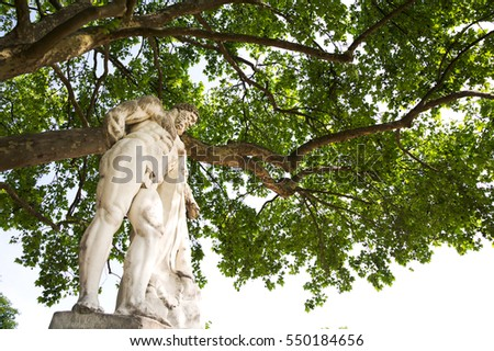 Beautiful classical statue in the Tuileries Garden, Paris, France with tree background