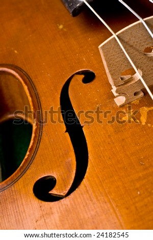 Beautiful classical violin close up detail. Shallow depth of focus. - stock photo