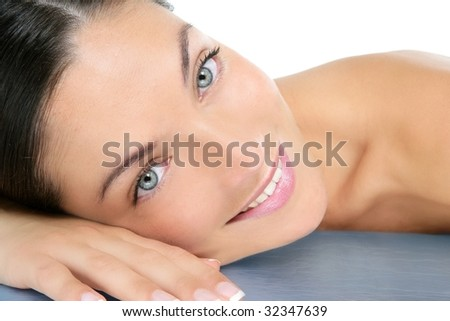 Beautiful clean cosmetics woman  close up portrait over white - stock photo