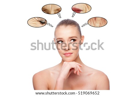 Beautiful clean face of woman looking to side thinking about aging and wrinkles, aesthetics exfoliating skincare concept, on white.