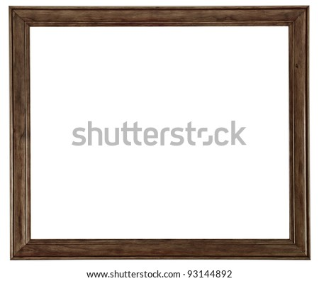 Beautiful, clean, simple and elegant wooden picture frame isolated on a pure white background. - stock photo