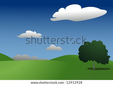 Beautiful clean sunny landscape with one tree XXL