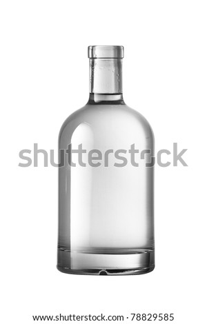 Beautiful Clear Bottle with clear liquid on clear background - stock photo